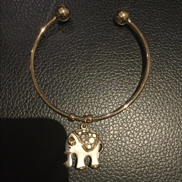 18K Gold Plated with white Elephant Cuff Bangle